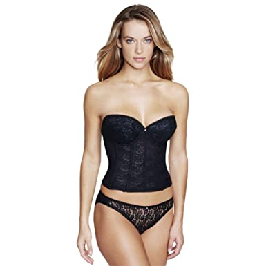 8a589c7ff36 Beautiful Low Back Strapless Lace Basque Corset Bustier with Deep Front  Plunge in Black by Dominique