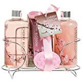 Freida and Joe Relaxing Zen Aromatherapy Cherry Blossom Scent Perfumed Fragrance Spa Gift Set Kit, Contains Shower Gel, Bubble Bath, Body Lotion, Bath Salts, and Pink Flower Salt, Perfect for Women