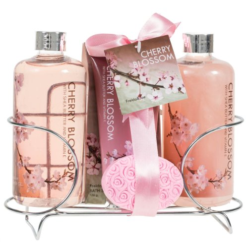 Cherry Blossom Spa Gift Set in Stainless Steel Caddy-enriched with Shea Butter and Vitamin E