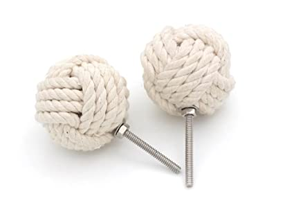 RII Nautical White Cotton Rope Door Knobs/Rope Knot Drawer Pulls And Knobs /Pull