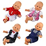 Miunana 4 PCS Fashion Clothes And Pants For 14 -16 Inch Baby Dolls, for Newborn Dolls, for Our Generation