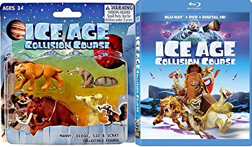 Kiss your Ice Goodbye Ice Age 5 Collision Course Cartoon & Collectible Figures Set Ice Age Blu Ray DVD + MANNY, DIEGO, SID & SCRAT 4-pack Animated Bundle toy movie Set