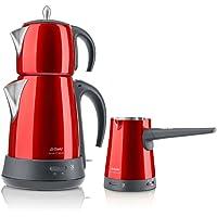Arzum AR3008 Ehlikeyf Delux Cay Ve Kahve Robotu Seti, 1000 W, Kırmızı
