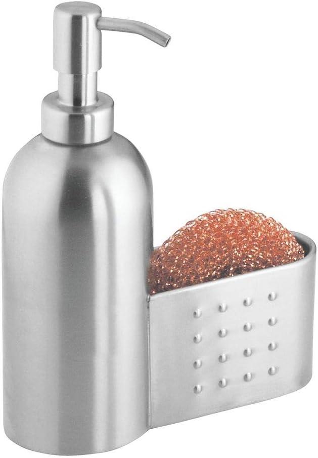 mDesign Dispensador de jabón líquido con Capacidad de 443 ml – Dosificador de jabón Recargable en Metal Resistente – Dispensador de Gel con práctico portaesponja – Plateado