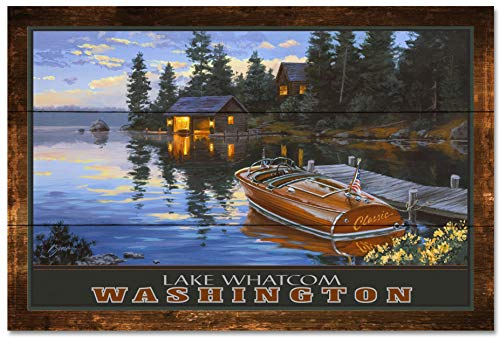 Lake Whatcom Bellingham Washington Criscraft Boat Dock Rustic Wood Art Print by Darrell Bush (24