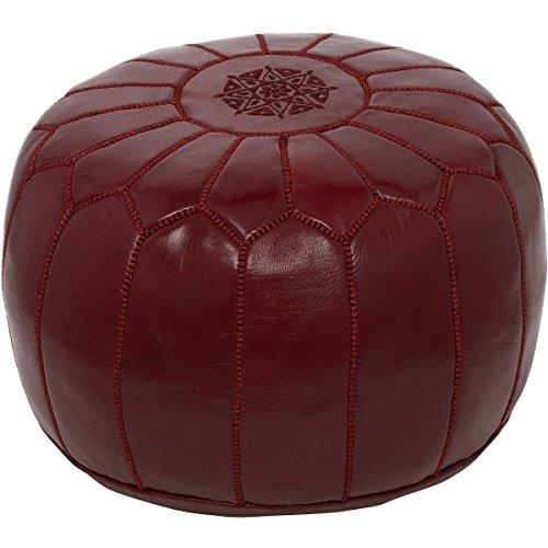 moroccan poufs leather luxury ottomans footstools maroon unstuffed by moroccan poufs