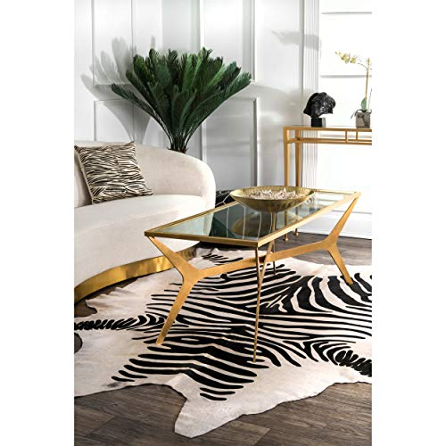 Nuloom Hand Picked Brazilian Black White Zebra Cowhide: Amazon.com: NuLOOM White Hand Made Striped Cowhide Shaped