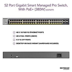 NETGEAR 52-Port Gigabit Ethernet Smart Managed Pro PoE Switch (GS752TP) - with 48 x PoE+ @ 380W, 4 x 1G SFP, Desktop…