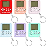 6 Pieces Brick Game Console Keychain Mini Brick Game Toy Keychain Classical Portable Game Console with Hanging Chain Birthday Festival Party Favor (Purple, Orange, Blue, Red, Green, Pink)