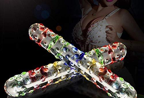 JHSFW Double Headed Crystal Glass Magic Wand Fake P-énis Anál Būtt Plug Female Masturbation Sexos Toy Massage Stick for Women ()