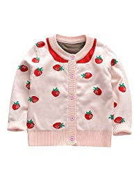 Theshy Toddler Baby Girl Long Sleeves Strawberry Knit Cardigan Sweater Gift