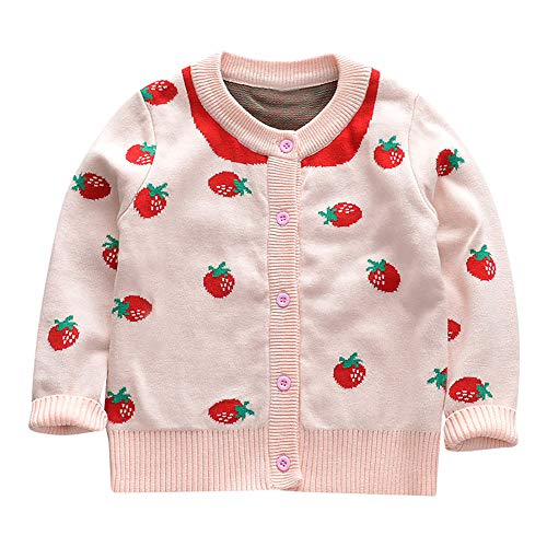 ❤️Mealeaf❤️ Baby Boys and Girls Clothes with Toddler Baby Girl Long Sleeves Strawberry Knit Cardigan Sweater Kid Clothes (4-5 Years Old, Pink)
