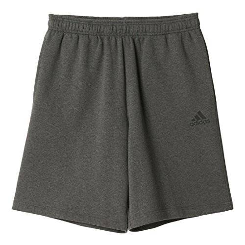 adidas Performance Men's Essential Cotton Fleece Shorts, Medium, Dark Grey Heather/Black Adidas Fleece Shorts