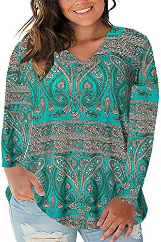 IMIDO Womens Tops Plus Size Tie-Dye Floral V Neck Tee Shirts Casual Soft Buttons up Tunic Short/Long Sleeve