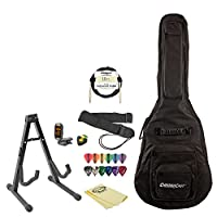 Acoustic-Electric Guitar Accessory Pack with Gig Bag, Stand, Strap, Cable, Guitar Instructional, Pick Holder, Tuner, Cloth and Picks