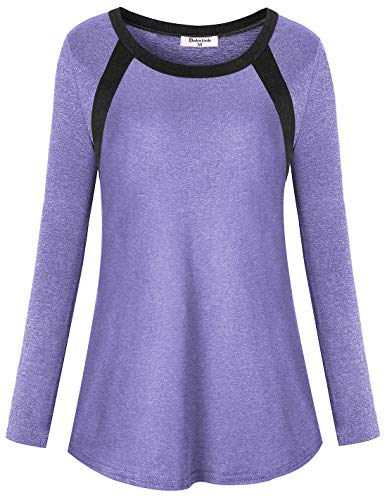 Bobolink Womens Running Shirts Long Sleeve, Junior Athleisure Wear Yoga Tops Moisture Wicking Tshirt Scoop Collar Active Wear Tunic Soft Light Weight Spandex Workout Cloth Knits Tees,Purple S Small