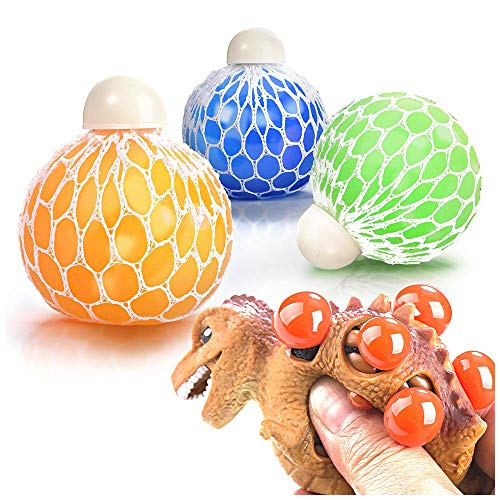 (Stress Ball Mesh Grape Sensory Toy 3 Set with 1 Random Dinosaur Squeeze Toy for Kids and Adults, Handheld Fidget Soft Slime Net Balls to Vent Mood, Relieve Anxiety and Autism for Boys and Girls)