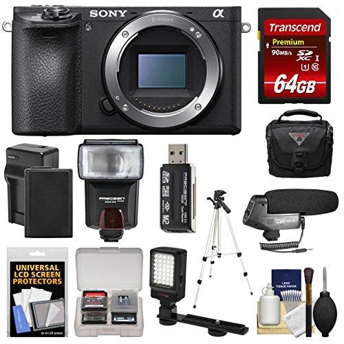 - Sony Alpha A6500 4K Wi-Fi Digital Camera Body with 64GB Card + Case + Flash + Battery & Charger + Tripod + Video Light + Mic + Kit