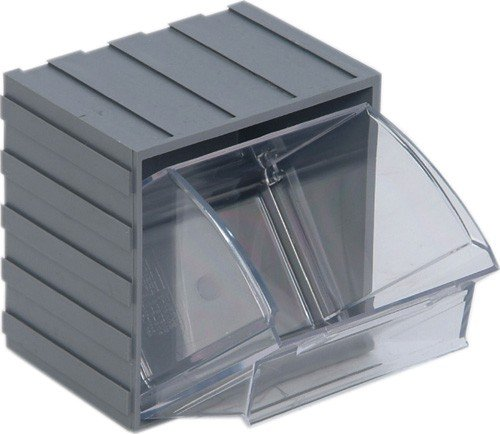 Quantum Storage Systems QTB406GY Clear Tip Out Bin, 3-5/8 by 4-1/16 by 4-1/4-Inch, Gray, Set of 6 by Quantum Storage Systems