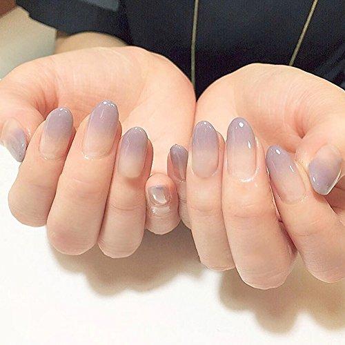 24 puntas de uñas postizas de acrílico con degradado, duraderas, de cobertura completa, con pegamento: Amazon.es: Belleza