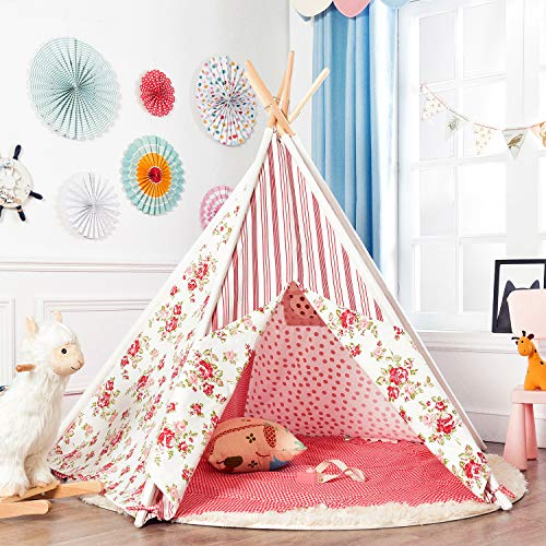 Asweets Large 5 Walls Kids Teepee Tent for Princess, Rainbow and Flower Combined 100% Natural Cotton Canvas, Includes Carry Case, Window and Floor Mat -