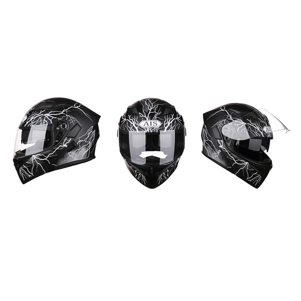 Couleur : Gris argent-M D/écouverte de casque moto /équitation ext/érieure Bluetooth /écouteurs HD anti-bu/ée miroir casque int/égral visage et les hommes cool personnalit/é