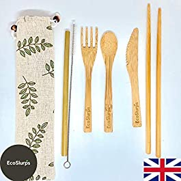 Bamboo Cutlery Set EcoSlurps | Tree Planted for Every Sale | Biodegradable & Compostable | Reusable Wood Cutlery Set and Carry Case for Picnic, Camping + Hiking | EcoGift | UK Company