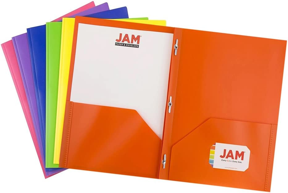 JAM PAPER Heavy Duty Plastic 2 Pocket School POP Folders with Metal Prongs Fastener Clasps - Assorted Premium Primary Colors - 6/Pack