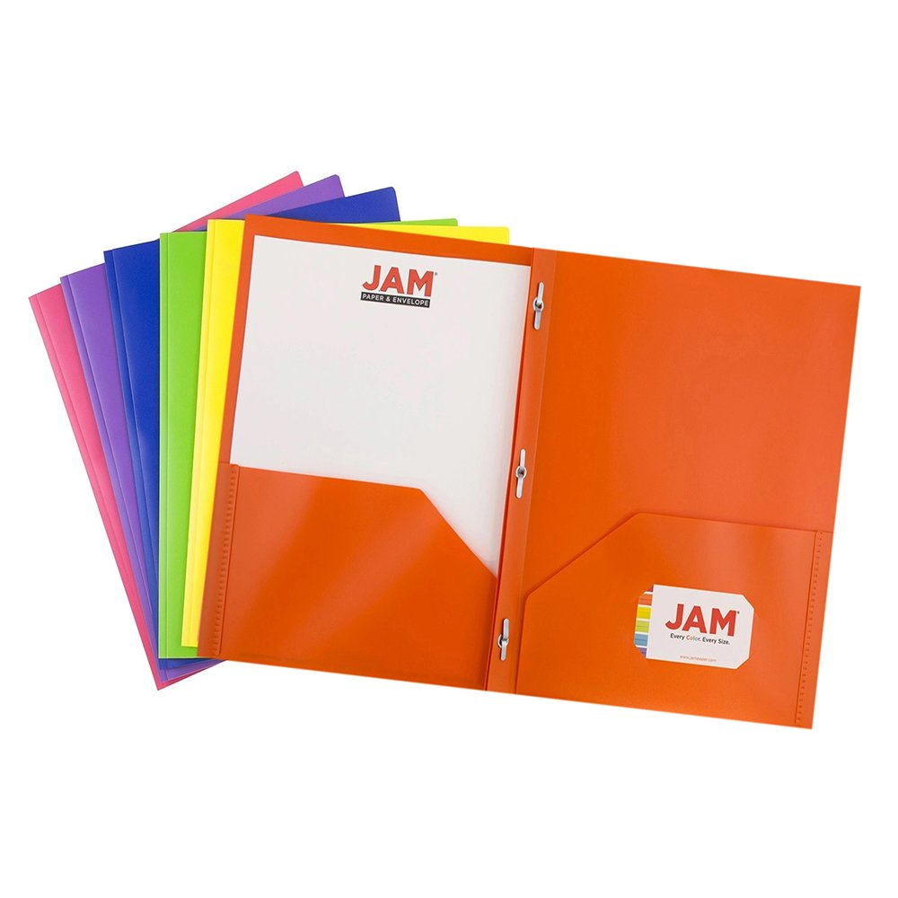 JAM PAPER Plastic 2 Pocket School POP Folders with Metal Prongs Fastener Clasps - Assorted Primary Colors - 6/pack