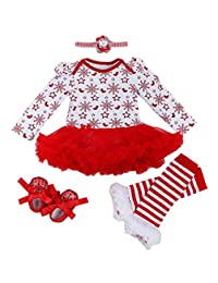 4pcs Newbron Baby Girls Christamas Tutu Dress Headband Baby Shoes Outfit Sets, S