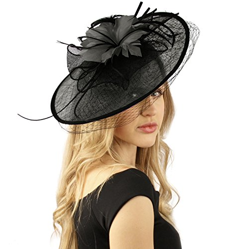Oval Sinamay Feathers Floral Net Fascinators Millinery Cocktail Derby Hat Black