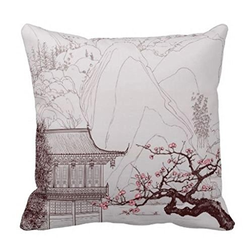 Damuyas Japanese Cherry Blossom Cushion Cover Throw Pillowcase NEW Square Sham (vintage house)