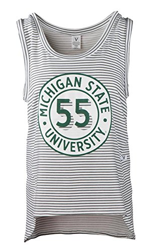 Official NCAA Michigan State Univ Spartans Women's Stripe Ath Leisure Tank Top