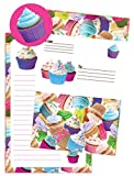 iscream 'Cupcakes' Pack of 8 Fold-over Cards with Flip Sticker Seals