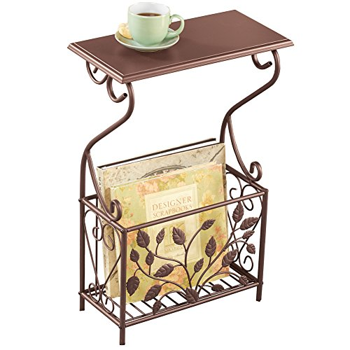 (Scroll Leaves Iron and Wood Magazine Holder Side Table, Bronze Colored Finish)