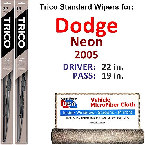 Wiper Blades for 2005 Dodge Neon Driver & Passenger Trico Steel Wipers Set of 2 Bundled with Bonus MicroFiber Interior Car Cloth