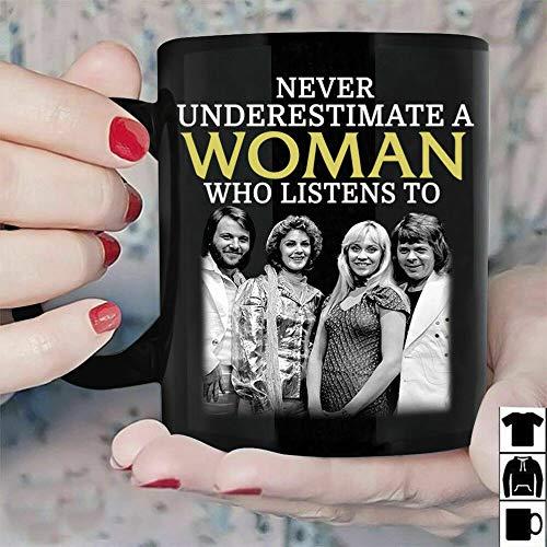 Never Underestimate A Woman Who Listens ABBA Muqs 11OZ Coffee Mug