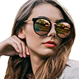Round Sunglasses for Women Polarized, Retro Oversized Frame with UV400 Protection, Anti Glare, Anti Reflective (Mirror-Rose Gold)