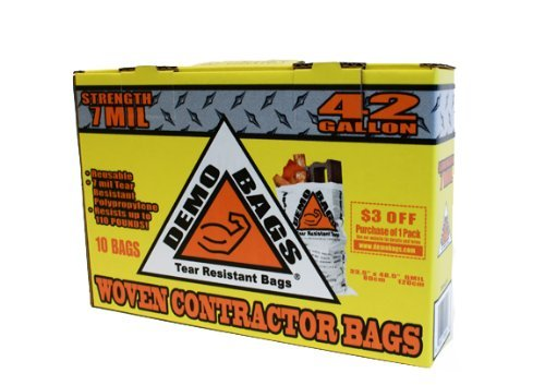 Demo Bags Demobags Contractor Trash, 42 Gallon, 10 Bags Per Pack-2481109 by Demo Bags