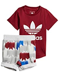 adidas Originals Infant Graphic Short Set, Collegiate Burgundy/White/Multicolor
