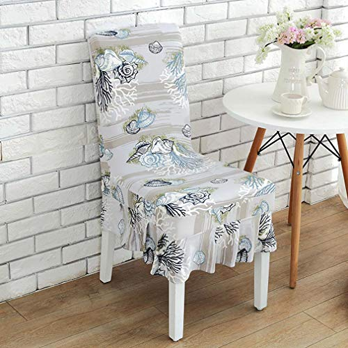 (Grapy Sea Coral Conch Shell Print Short Ruffled Stretch Spandex Fit Dining Room Chair Cover Protectors Removable Washable Soft Banquet Chair Seat Slipcovers Set of 4, Blue)