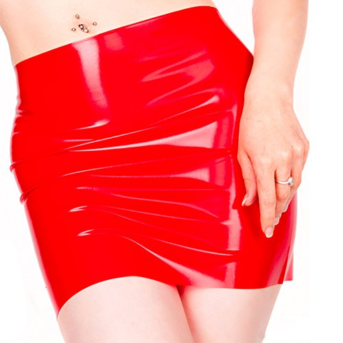 EXLATEX Women's Latex Rubber Gummi Black Mini Skirt (Large, Red)
