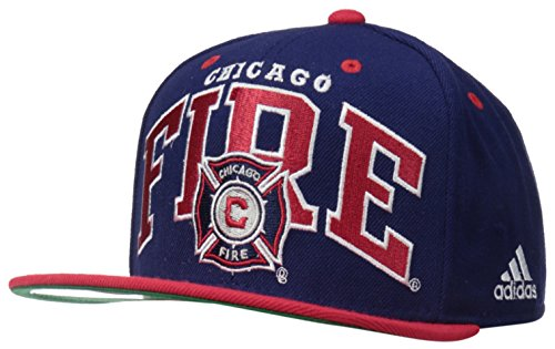adidas MLS Chicago Fire Men's Name Two Tone Flat Brim Snapback Hat, One Size, (Fire Brim Cap)