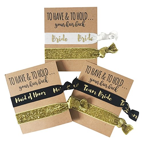 Set of 12 To Have and to Hold Your Hair back Bachelorette Party Hair Ties by Bachelorette Box. Includes Bride, Maid of Honor, and Team Bride designs.
