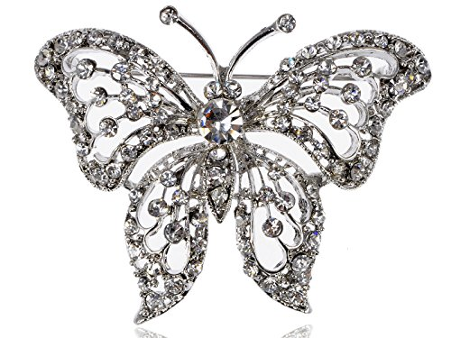 Alilang Silvery Tone Clear Crystal Colored Rhinestones Butterfly Brooch Pin