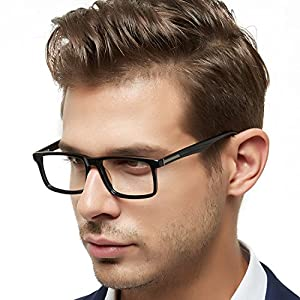 OCCI CHIARI Father's Day Gift-Mens Rectangle Fashion Stylish Acetate Eyewear Frame With Clear Lens 51mm (Black)