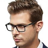 OCCI CHIARI Mens Rectangle Fashion Stylish Acetate Eyewear Frame With Clear Lens 51mm (Black)