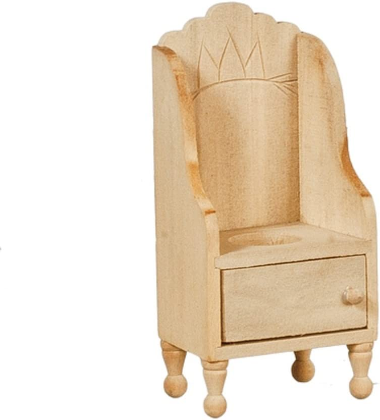 Melody Jane Dollhouse Victorian Potty Chair Unfinished Bare Wood Miniature Furniture