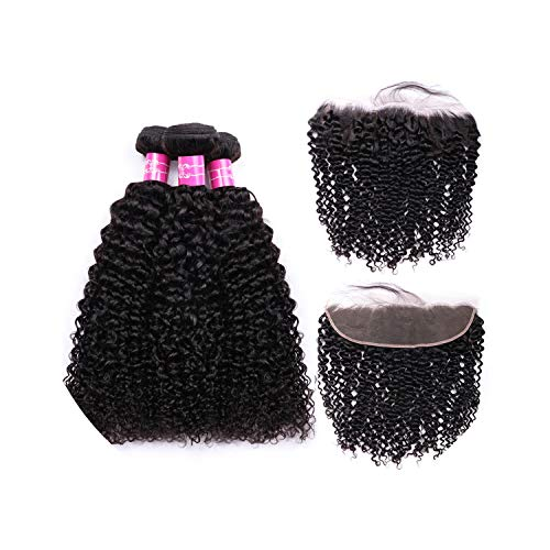 Wigs Curly Bundles With Frontal Non Remy Human Hair Bundles With 13X4 Closure Lace Frontal Closure With 3 Bundles,16 16 18 & Closure14,Natural Color,Free Part]()