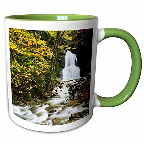 3dRose Danita Delimont - Waterfalls - Moss Glen Falls, Granville, Vermont, USA - US46 AJE0007 - Adam Jones - 15oz Two-Tone Green Mug (mug_147584_12)